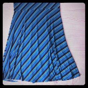 """LulaRoe Skirt Turquoise Stretchy Stripes XL 29"""""""